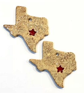 Texas clay ornament with glass heart
