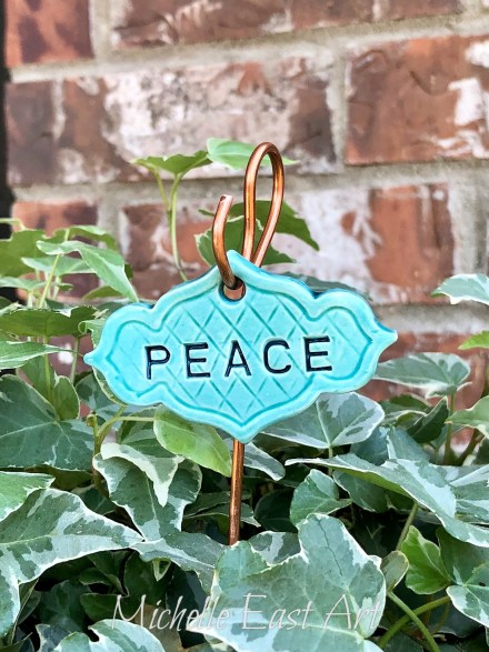 Peace clay garden marker label