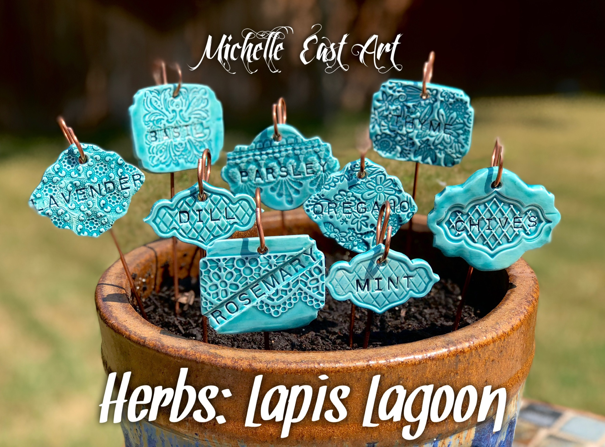 Clay Herb Garden Markers Labels