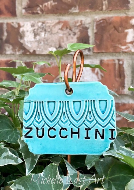 Zucchini clay vegetable garden marker label