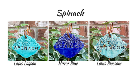 Spinach clay garden marker label