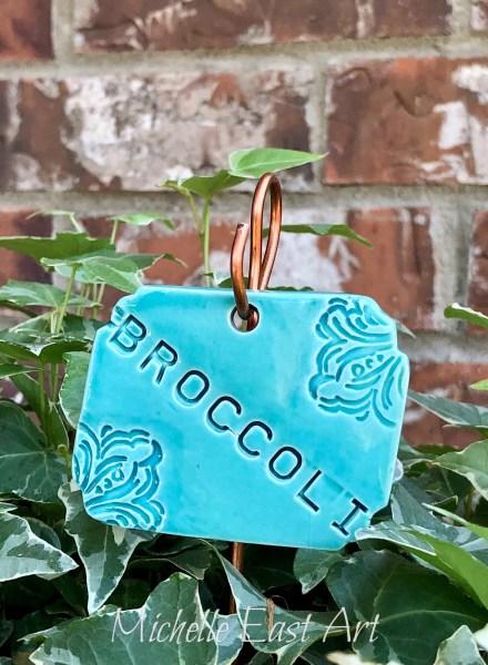 Broccoli clay vegetable garden marker label