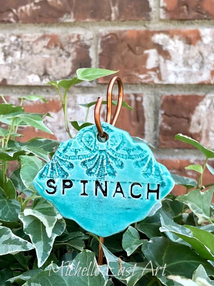 Spinach clay garden marker label