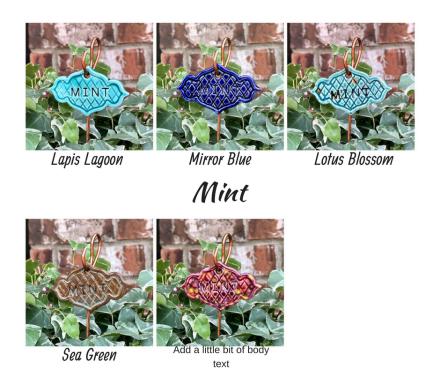 Mint clay herb garden marker label