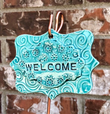 Welcome clay garden sign