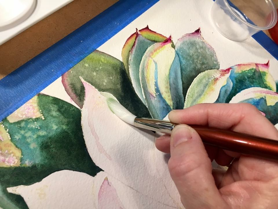 Michelle Painting Succulent Watercolor