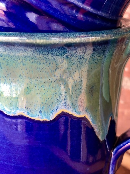 Cobalt and Seaweed Handmade pottery mugs