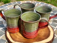 Deep Red and Seaweed Handmade Mugs