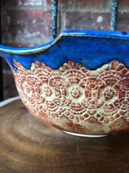 Indigo Blue Lace Salad Bowl Stoneware