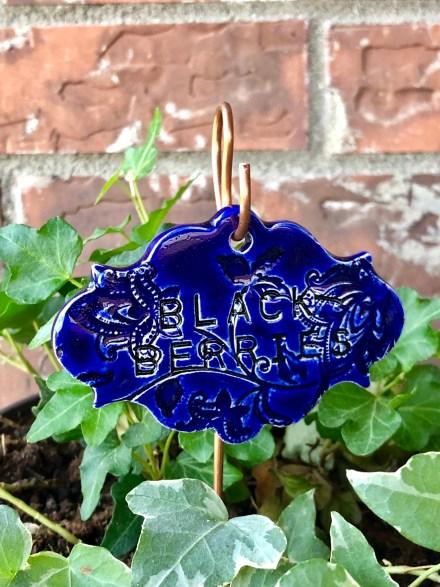 Blackberries Ceramic garden marker