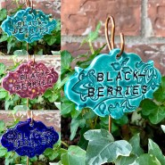Blackberries Ceramic garden marker