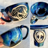Bigfoot Alien Abduction Handmade Mug