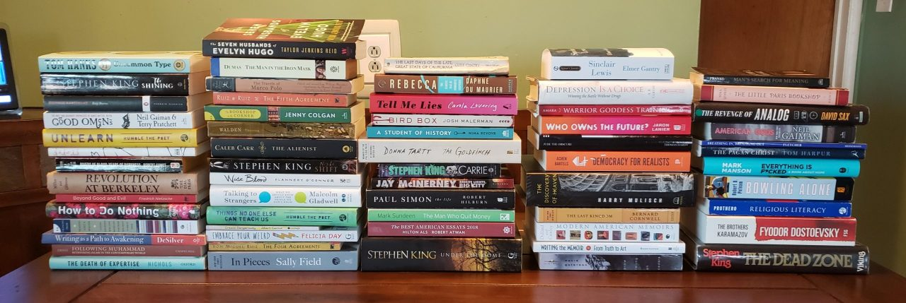 Pile of books read in 2019