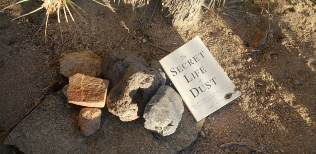 """""""The Secret Life of Dust"""" book cover on the desert floor."""