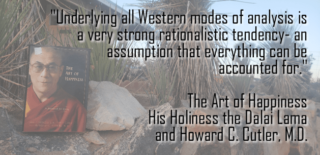 Eastern and Western philosophy quote from the book on a desert background.