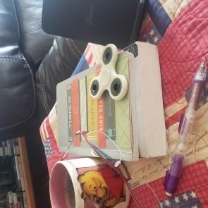 My fidget spinner on my books.