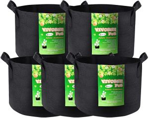 VIVOSUN 5-Pack 5 Gallon Grow Bags Heavy Duty 300G Thickened Nonwoven Plant Fabric Pots with Handles Only $12.99 + Free Shipping with Amazon Prime