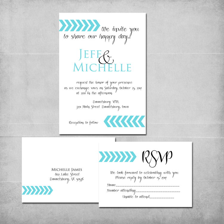 Chevron Arrows Wedding Invitation Reply Card Micejdesigns Customized Colors
