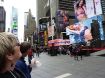 Mark and Ma in Times Square with the traditional dirty water dogs