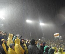 It never rains at...aw, screw it. It did rain at Autzen Stadium