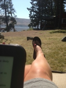 Reading by the lake