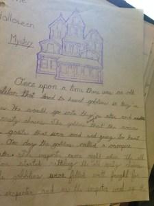 A photo of Michelle's handwritten Halloween Story