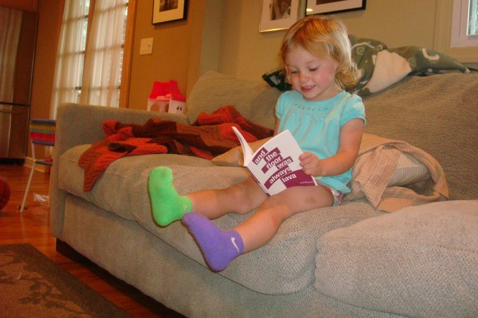 This adorable little reader belongs to my good friend, Dustin Fisher, author of | Daddy Issues|