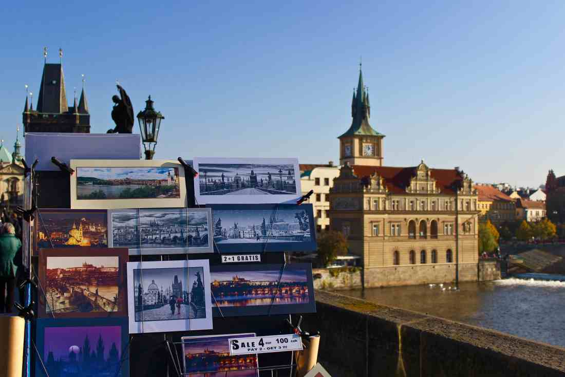 Artists sell their wares on the Charles Bridge in Prague