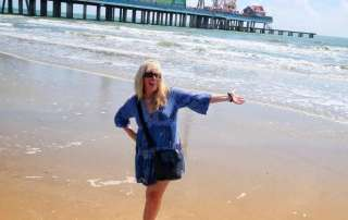 Beachside in Galveston Texas in my fave Summer Travel Dress