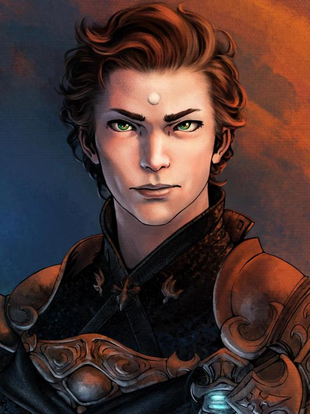 A fantasy-style illustrative portrait depicting an armored man with his curly hair slicked back.