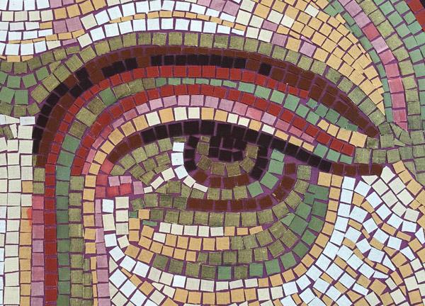 Christ Pantocrator banner (2011) - detail of eye by Michelle L Hofer