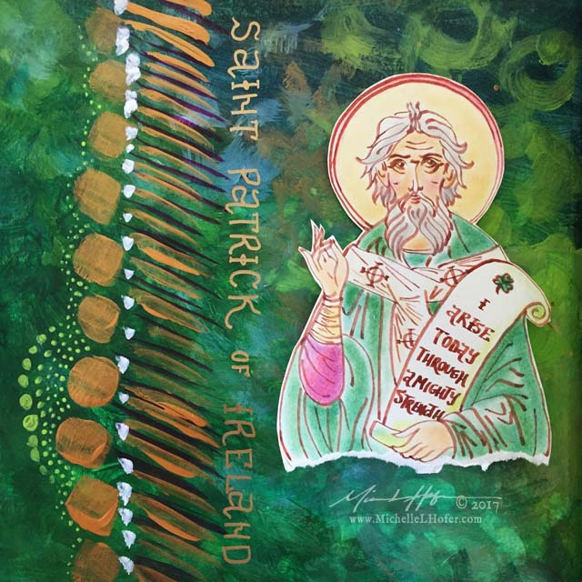 Abstract acrylic painted book page featuring a pen and ink portrait of Saint Patrick of Ireland with hand lettered name from the Book of Saints by Michelle L Hofer.