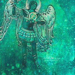 Abstract acrylic painting by Michelle L Hofer featuring the divine warrior angel Michael - sword drawn.