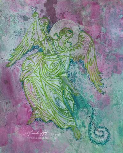 Abstract acrylic painting by Michelle L Hofer featuring an angel stirring up water for healing.