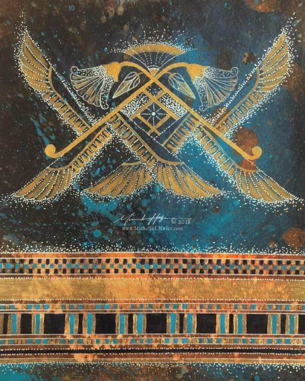 Abstract acrylic painting by Michelle L Hofer featuring an Egyptian inspired interpretation of a six-winged seraph.