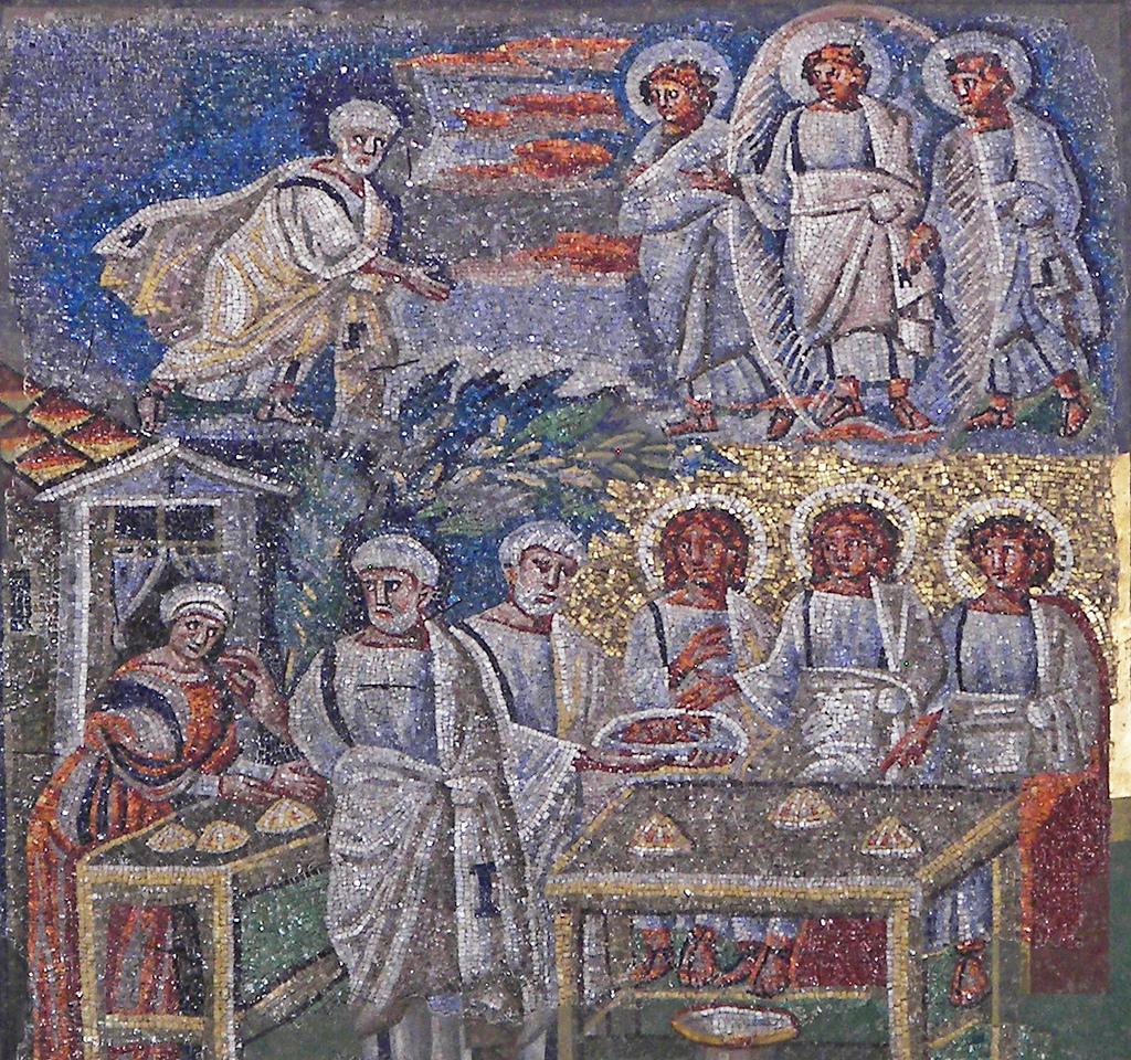 Mosaic with Abraham entertaining his three visitors Santa Maria Maggiore, Rome (AD 432-440).