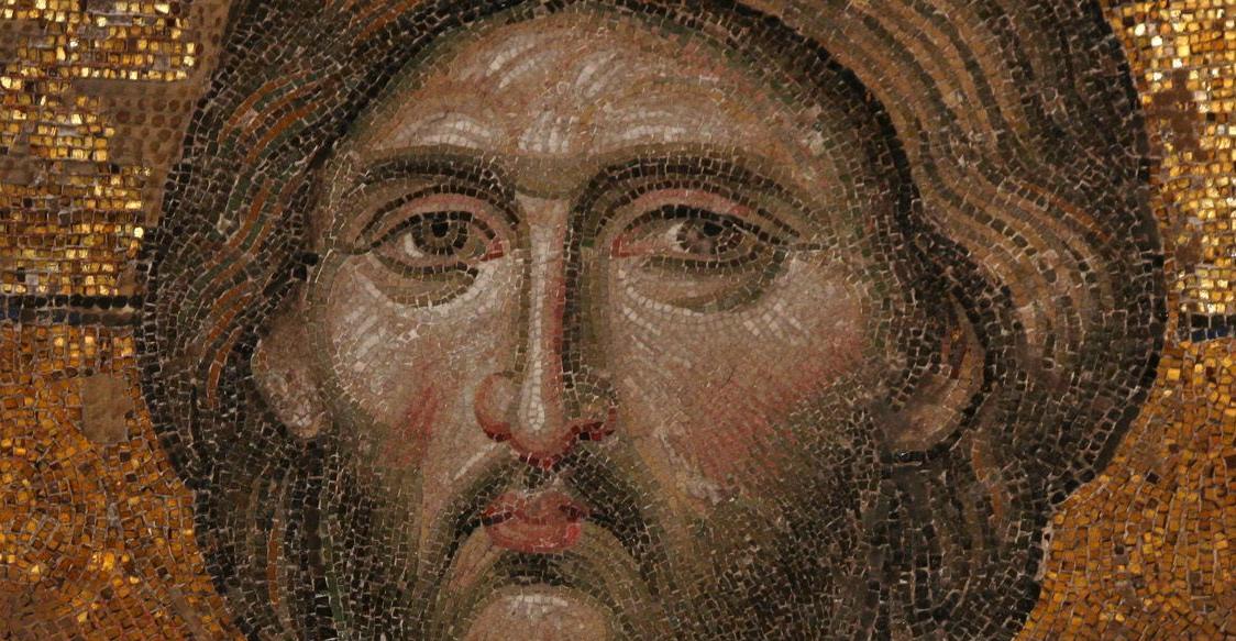 Detail of Christ, Deesis mosaic in the Hagia Sophia (13th century) Istanbul, Turkey.