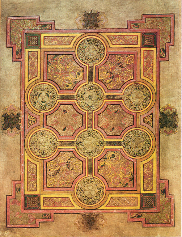 The Eight-Circle Cross (folio 33r) from the Book of Kells - the carpet page preceding the Gospel of Matthew