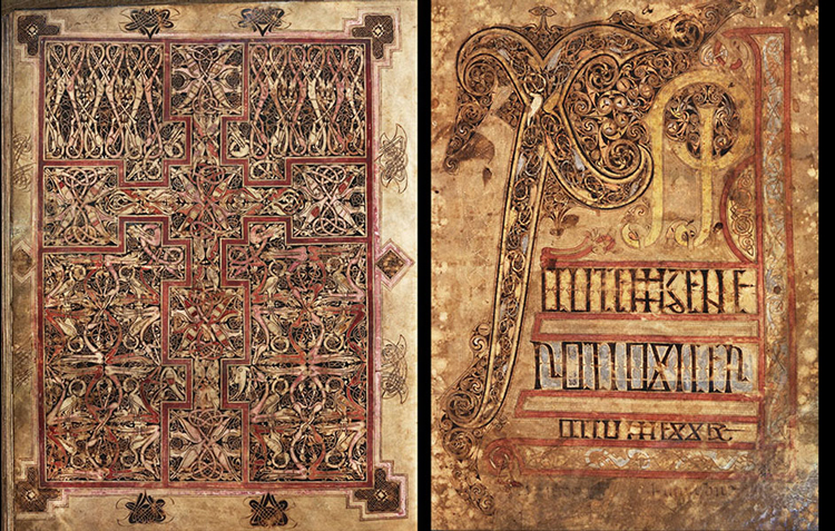 Carpet page and Chi-Rho page from St. Chad Gospels (AD 700-800). Photo by British Museum.