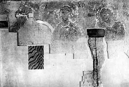 Deesis mosaic at the Hagia Sophia cathedral emerging during restoration in 1934