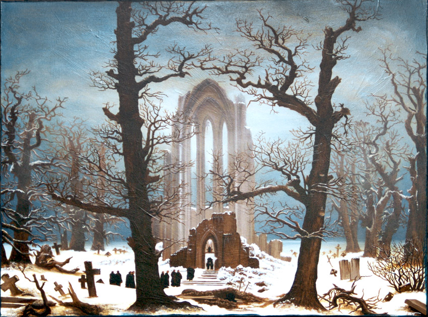 Monastery Graveyard in the Snow — after Caspar David Friedrich (2011) by Michelle L Hofer