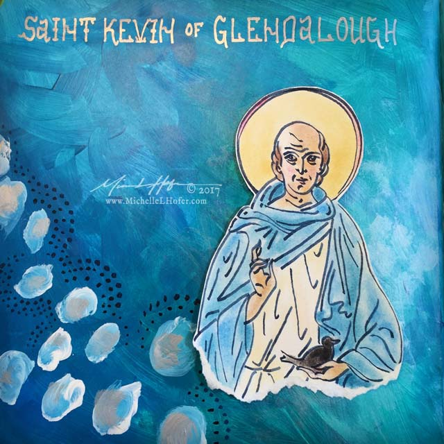 The Solitude of Saint Kevin, Part 2 - Abstract acrylic painted book page featuring a pen and ink portrait of Saint Kevin of Glendalough with hand lettered name from the Book of Saints by Michelle L Hofer.