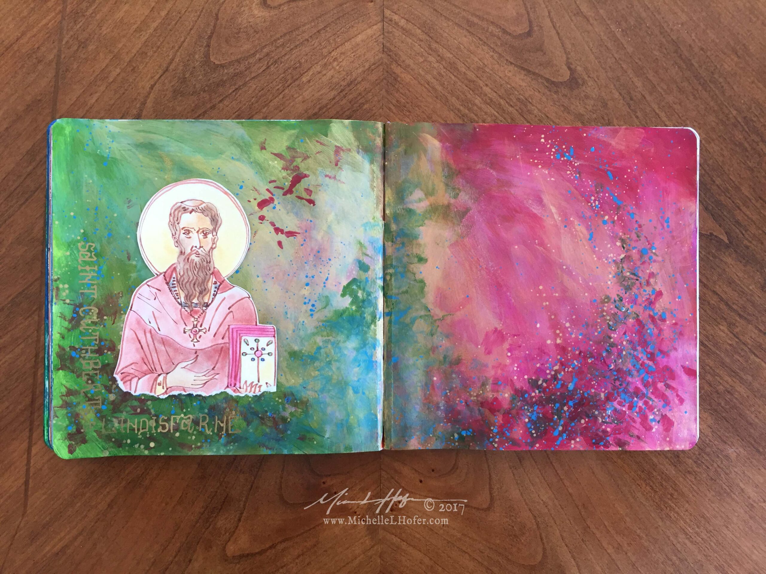 Saint Cuthbert the Wonder-Worker - Abstract acrylic painted double-page book spread featuring a pen and ink portrait of Saint Cuthbert of Lindisfarne with hand lettered name from the Book of Saints by Michelle L Hofer.