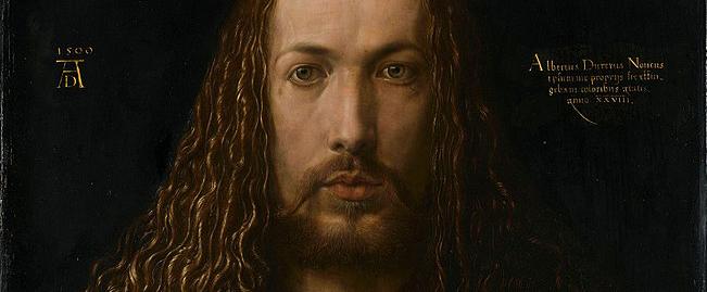 Self-Portrait at Twenty-Eight Years Old Wearing a Coat with Fur Collar (1500) by Albrecht Dürer - detail