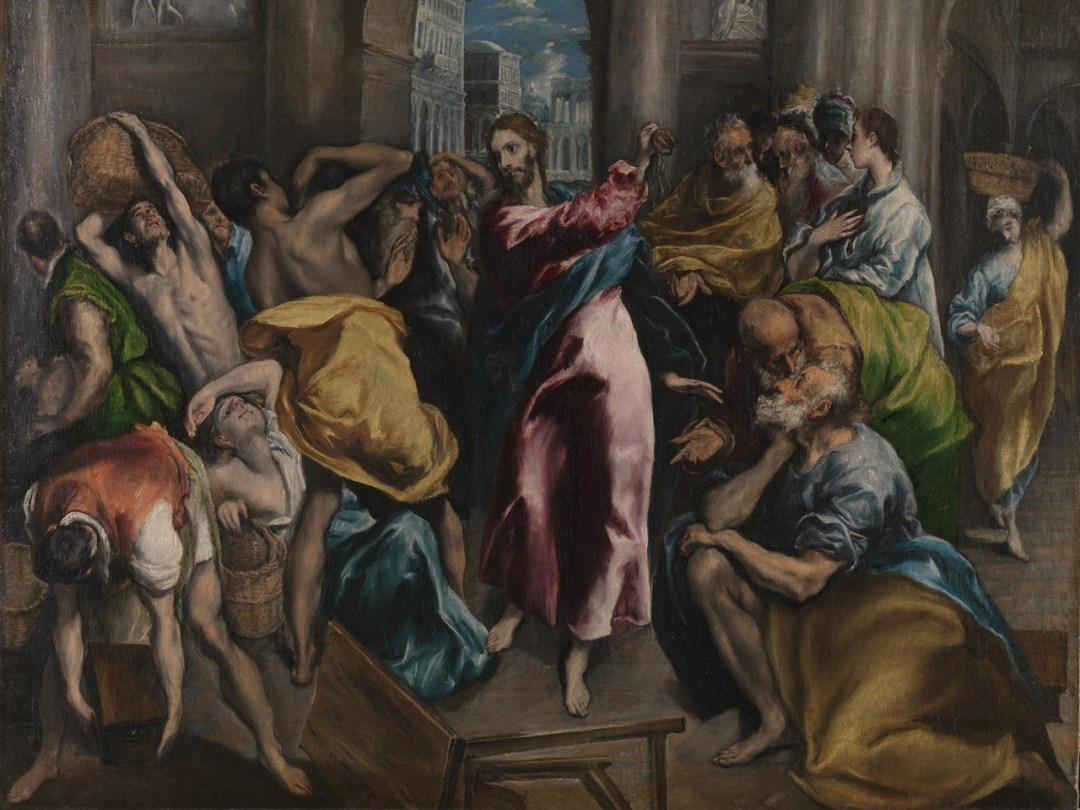 Christ Driving the Traders from the Temple (probably before 1570) by El Greco (1541-1614)