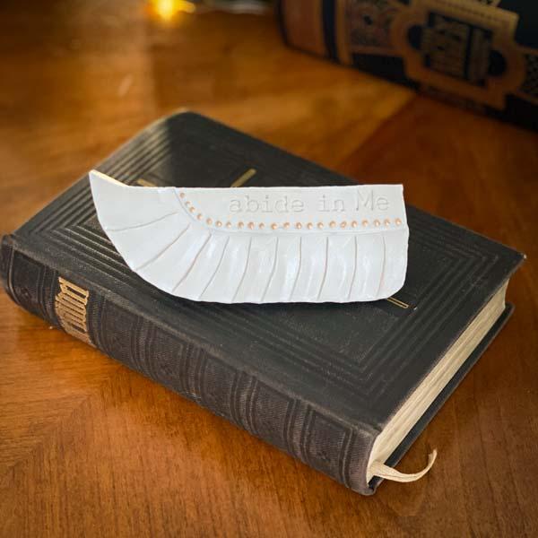 Ceramic Prayer Wing - abide in Me by Michelle L Hofer, 2020