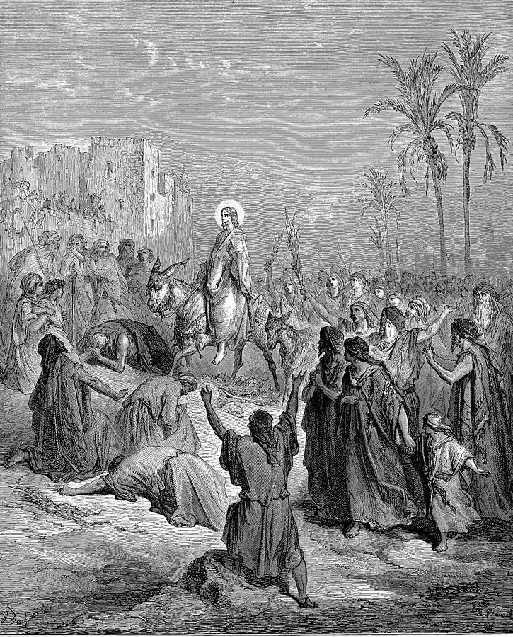 Entry of Jesus Into Jerusalem (illustration of Matthew 21:7-8) by Gustave Doré