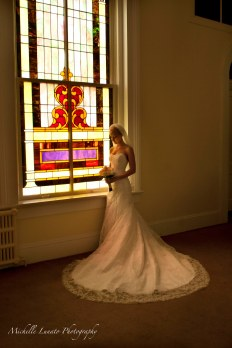 bride by stain glass 2