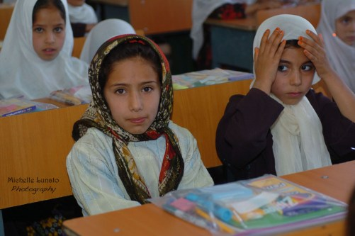 The Afghan girls were all in one class for us to hand out our supplies.