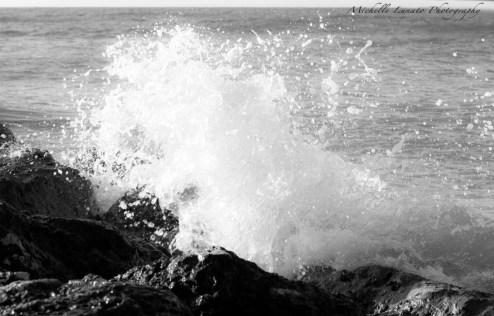 Splashing on stone.